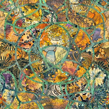 astratto seamless di fiori colorati e foglie con tessitura, illustrazione floreale Archivio Fotografico
