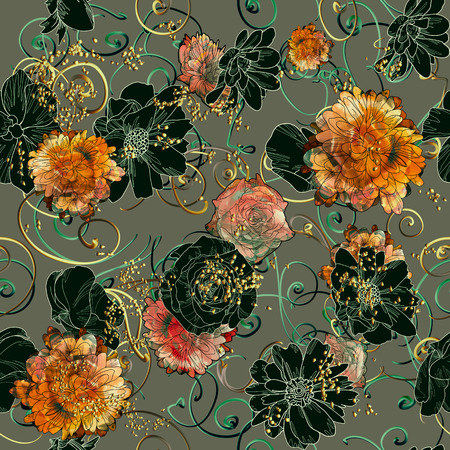 abstract seamless pattern with colorful flowers on grey background,floral illustration painting
