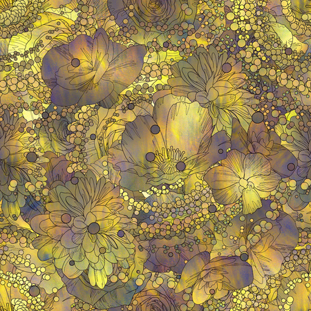 seamless pattern of colorful flowers and leaves with texture,floral illustration 写真素材
