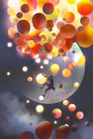un uomo che sale palloncini fantasia contro immaginario pianeti sfondo, illustrazione pittura Archivio Fotografico