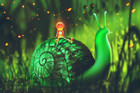 green snail with cute robot sits on its back against night forest,illustration painting 스톡 콘텐츠