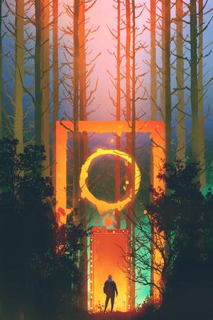 ファンタジー ゲート、絵画の図と魅惑の森の男