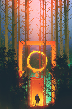 enchanted: man in the enchanted forest with fantasy gate,illustration painting Stock Photo