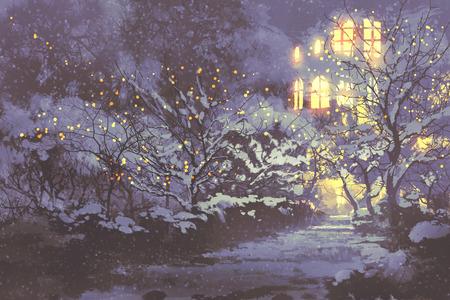 scenario serale nevoso inverno vicolo nel parco con le luci di Natale su alberi, illustrazione pittura