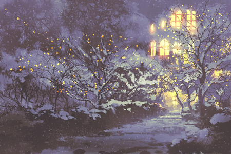 night scenery of snowy winter alley in the park with christmas lights on trees,illustration painting Stock Photo