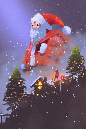 giant santa claus giving gift boxes to a boy at Christmas night,illustration painting 写真素材