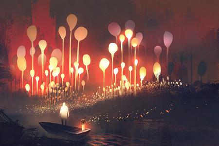 Nachtlandschaft Fantasiewald mit leuchtenden Bäumen und Mann im Boot, Illustration,