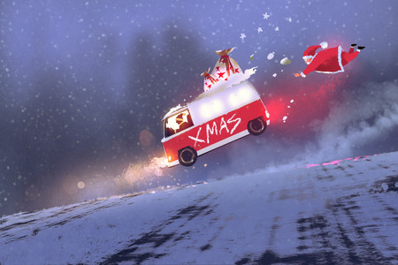 gift bags: funny scene of santa claus and the van with christmas gift bags jumping on winter road,illustration painting Stock Photo