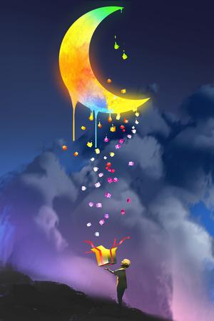 de jongen opening van een fantasy doos en het opzoeken van een magische gave, kleurrijke smeltende maan, illustratie painting Stockfoto