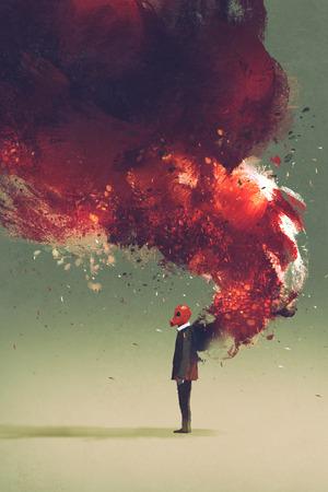maschera antigas uomo in piedi con la fiamma del fuoco e fumo sulla schiena, illustrazione pittura