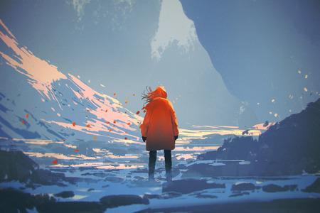 vista posteriore della donna con rivestimento caldo arancione in piedi nel paesaggio invernale, illustrazione pittura