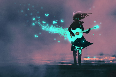 girl playing guitar with a blue light and glowing butterflies,illustration painting