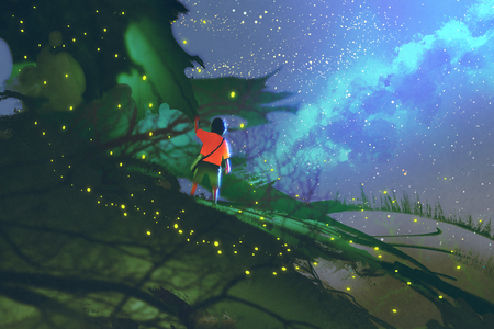 little boy standing on giant leaves looking at a night sky,illustration painting