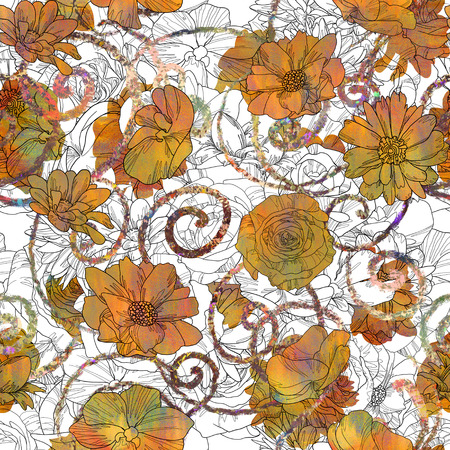 seamless pattern with orange and white flowers,floral illustration art