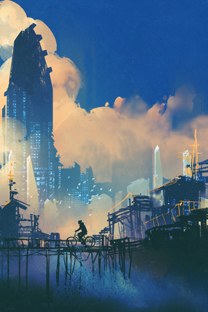 sci-fi cityscape with slum and futuristic skyscraper,illustration painting