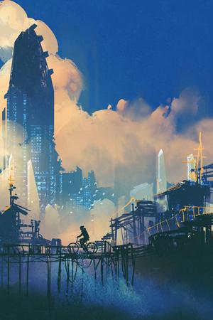 sci-fi cityscape with slum and futuristic skyscraper,illustration painting