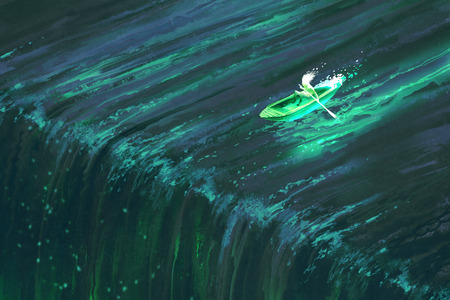 man rowing in glowing green boat near edge of waterfall,illustration painting Foto de archivo - 116844798