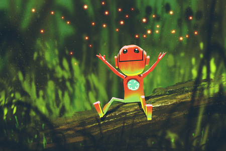 cute robot playing with fireflies in forest at night,illustration painting 写真素材