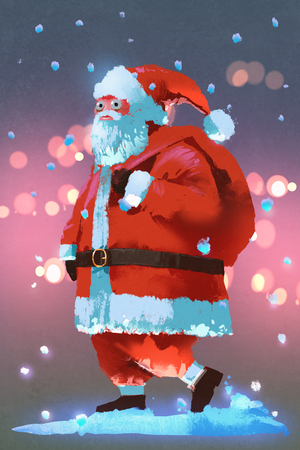 illustration painting of Santa Claus with a gifts bag,Christmas concept Stock Photo