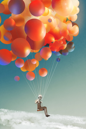 sky traveller,man floating with colorful balloons in a sky,illustration digital painting Stock Photo
