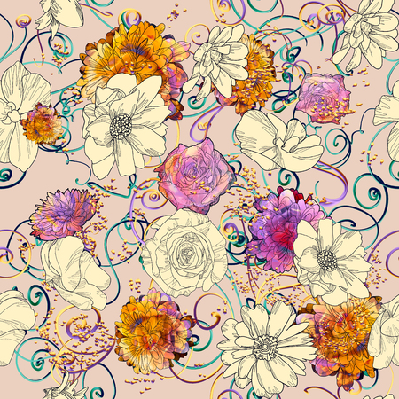 seamless pattern with colorful flowers,floral illustration painting 写真素材