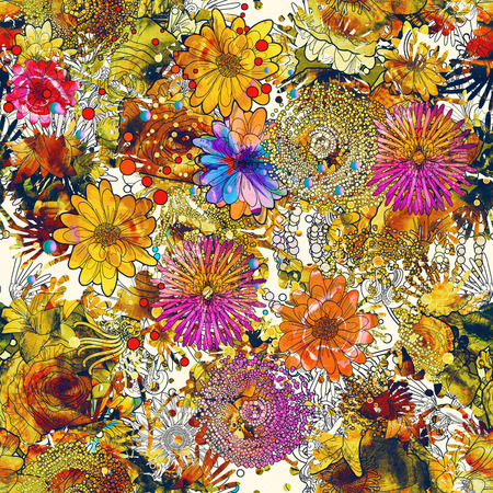 seamless pattern with colorful flowers,floral illustration painting Stock Photo