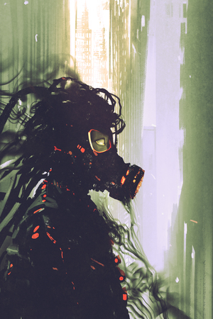 sci-fi concept of man wearing a futuristic gas mask,illustration painting 写真素材