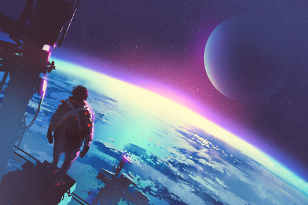 sci-fi concept of the man looking a surface of the earth from a space,illustration painting