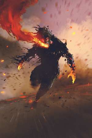 the gas mask man breathing out fire flame,illustration painting Stock Photo