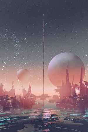 Vista aérea de la ciudad de ciencia ficción con edificios futuristas en un planeta alienígena, pintura de ilustración