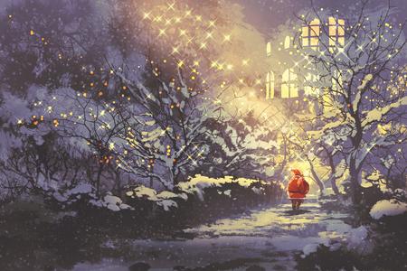 Babbo Natale in nevoso inverno vicolo nel parco con le luci di Natale su alberi, illustrazione pittura