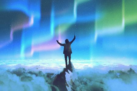 de dirigent die stokje staan op de top van een berg tegen de nachtelijke hemel met Northern Lights, illustration painting Stockfoto
