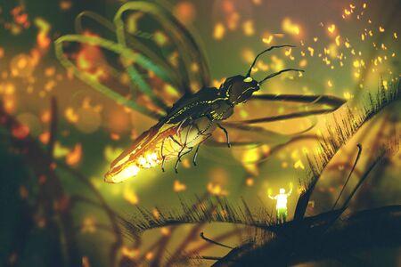 piccolo uomo dirigere lucciola gigante in una foresta di notte, illustrazione pittura Archivio Fotografico