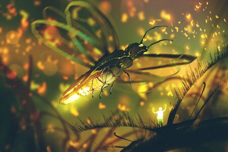 little man directing giant firefly in a night forest,illustration painting Stock Photo