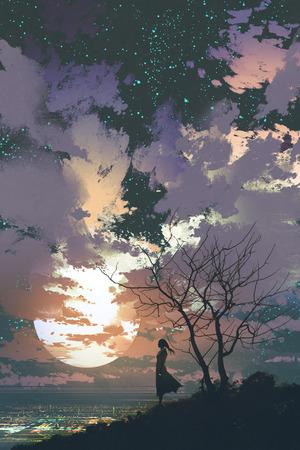 大きな月、絵画の図と美しい空を背景の山の頂上に立っている女性