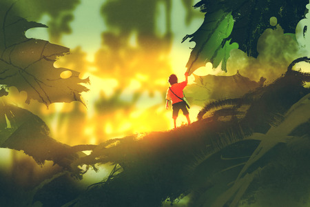 little boy standing on giant leaves looking sunlight,illustration painting
