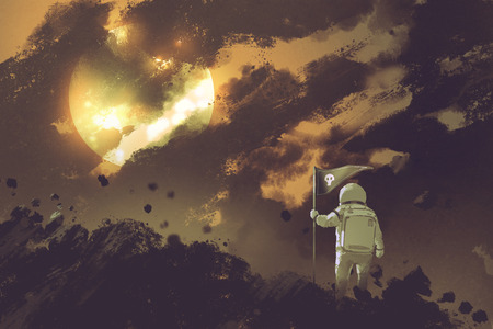 astronaut with a flag standing on mountain against a cloudy sky and a sun,illustration painting Stock Photo