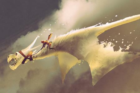 uomo che cavalca sul bianco drago volante contro un cielo nuvoloso, illustrazione pittura