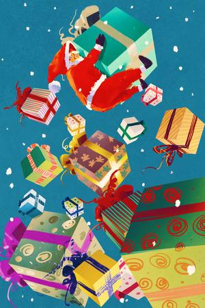 Babbo Natale e confezioni regalo che cade su sfondo blu, illustrazione pittura
