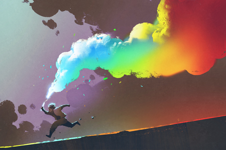 boy running and holding up colorful smoke flare on dark background,illustration painting Banque d'images