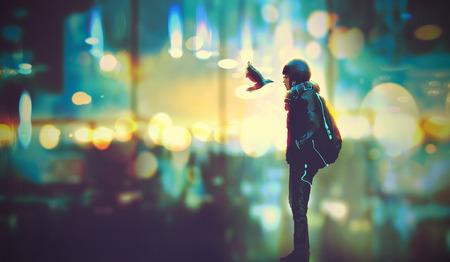 ragazza futuristico e un uccello guardano l'un l'altro negli occhi su sfondo della città di notte, illustrazione pittura