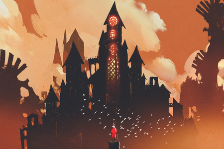 red knight standing in front of fantasy castle in the background of orange clouds,illustration painting