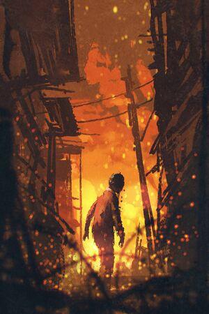 zombie looking back with burning city background,illustration painting Stock Photo