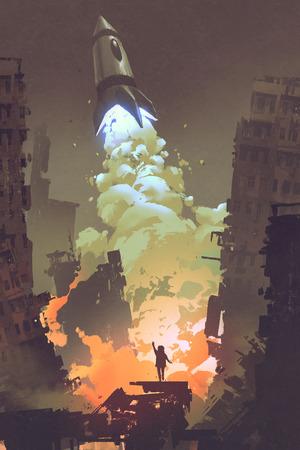 kid uitzwaaien en staan in de voorkant van een ruimte raketlancering opstijgen, illustration painting Stockfoto