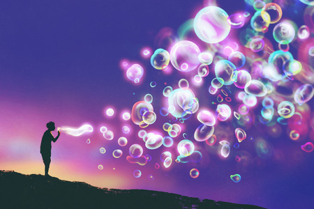 young man blowing glowing soap bubbles against evening sky,illustration painting