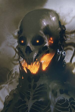 sci-fi character of alien skull on dark background,illustration painting Stock fotó