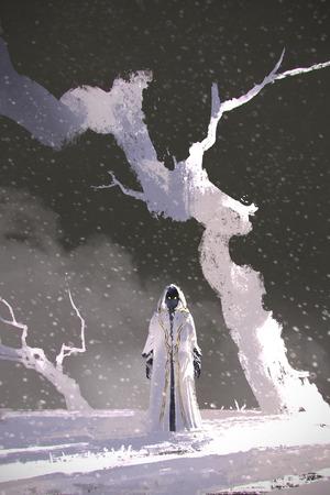 il mantello bianco in piedi in un paesaggio invernale con alberi bianchi, illustrazione pittura