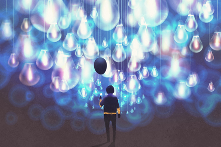 man with black balloon among a lot of glowing blue light bulbs,illustration painting