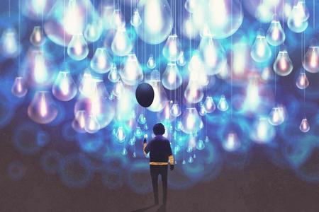 Mann mit schwarzer Ballon unter vielen leuchtenden blauen Glühbirnen, Illustration,