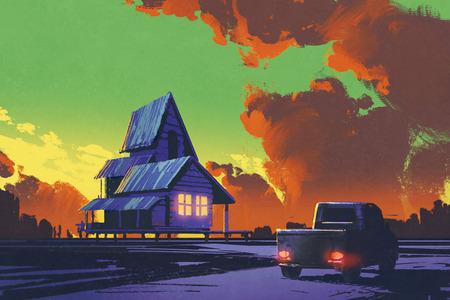 paesaggio rurale con il vecchio camioncino e vecchia casa contro il cielo colorato, illustrazione pittura